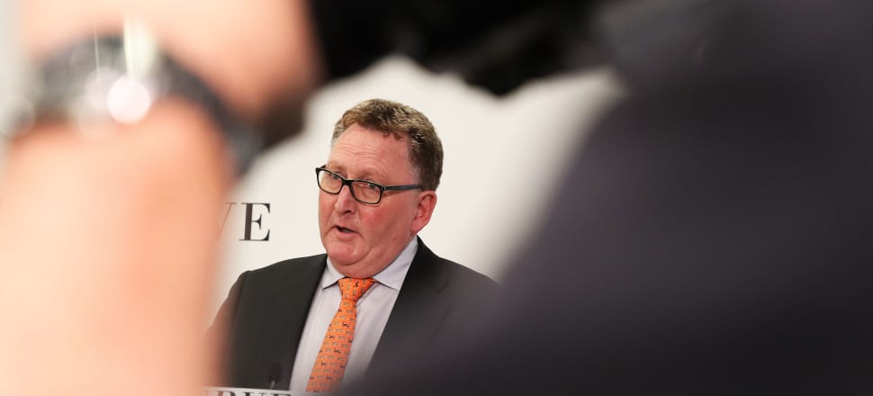 Reserve Bank Governor Adrian Orr announcing a 50 basis point cut in the Official Cash Rate to 1.0 percent and saying the central bank was considering unorthodox policies. Photo: Lynn Grieveson