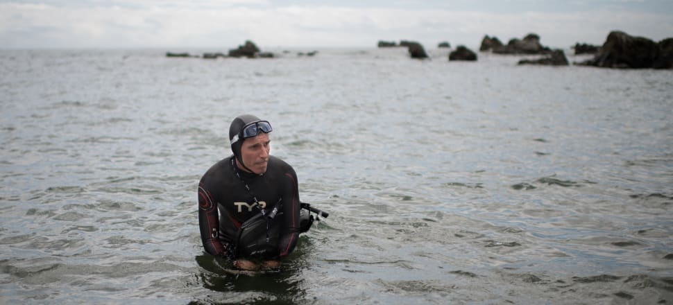 French marathon swimmer Ben Lecomte at the start of his Pacific Ocean swim. Photo: Getty Images