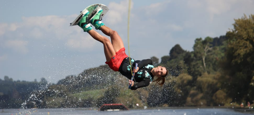 Charlotte Broadbent has made a stunning comeback to wakeboarding in her 40s, and now the NZ women's No. 2 is off to her first world championships in Abu Dhabi in November. Photo: Sabina East Photography.