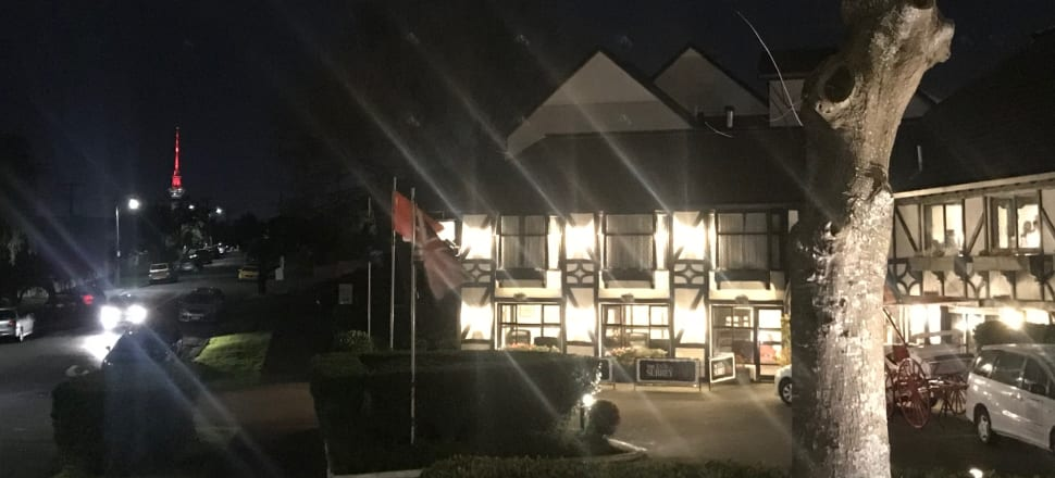 Moody portrait of the Surrey Hotel at night. Photo: Naomi Arnold.