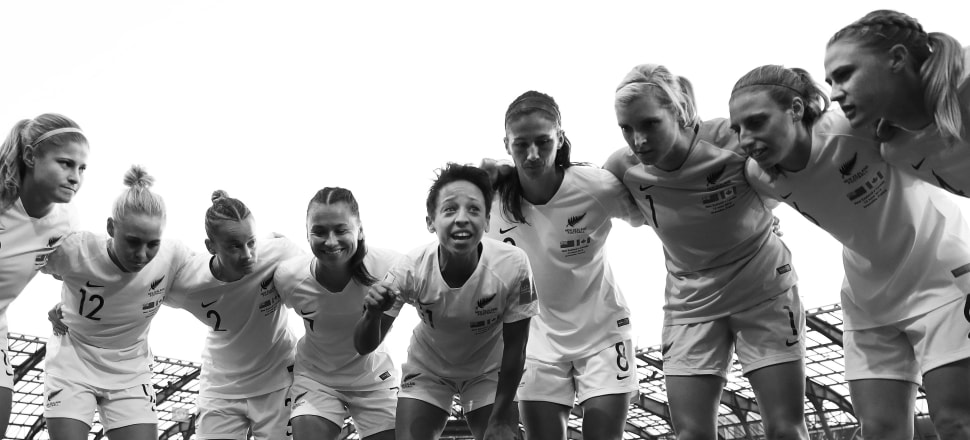 Sarah Gregorius gives a rousing team talk to her Football Ferns team-mates before their Fifa Women's World Cup group match against Canada in Grenoble, France.  Photo: Getty Images.