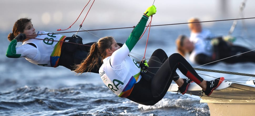 Martine Grael (left) and Kahena Kunze, on their way to victory at the Rio Olympics, are determined to do the same at the 49erFX worlds in Auckland this week. Photo: Getty Images.