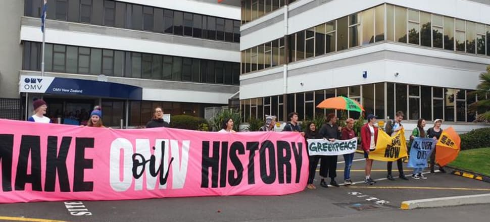 Protesters outside the OMV offices in New Plymouth on Monday, 2 December. Photo: Robin Martin