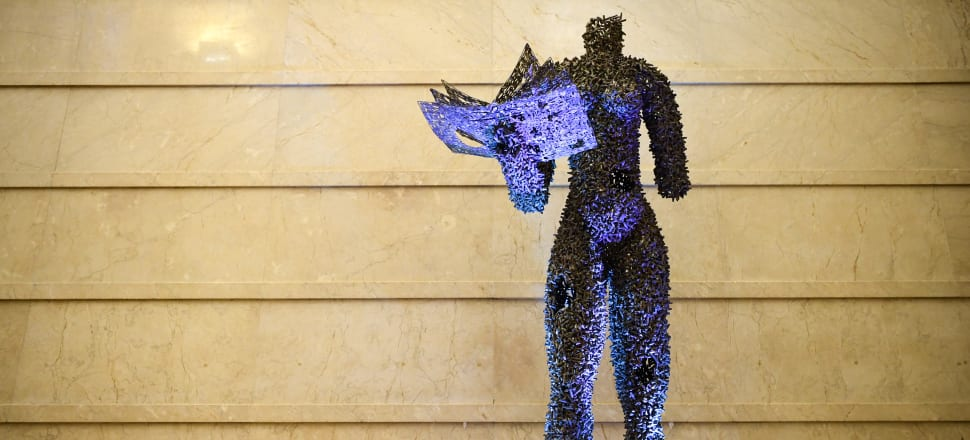 A statue by Congolese artists Freddy Tsimba displayed in Paris marks the 70th anniversary in 2018 of the Universal Declaration of Human Rights. Photo: Getty Images.