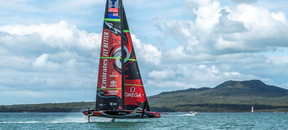 Team NZ have been rocketing their first foiling monohull - Te Aihe, the dolphin - across the Hauraki Gulf for three months, without any major mishaps. Photo: Hamish Hooper, ETNZ.