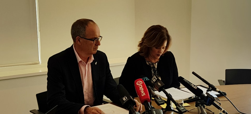 Martin Matthews, left, and Mary Scholtens QC hold a press conference announcing their petition to Parliament. Photo: Dileepa Fonseka