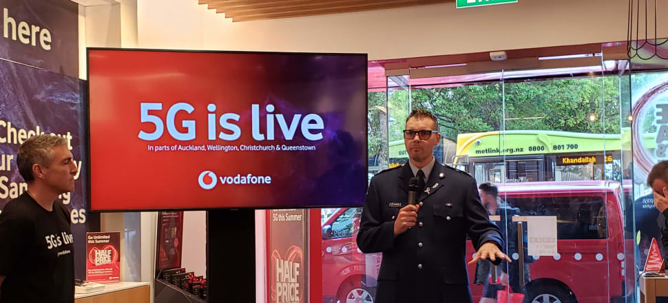 Vodafone New Zealand CEO Jason Paris and Police Chief Information Officer Rob Cochrane discuss the launch of 5G in New Zealand. Photo: Marc Daalder