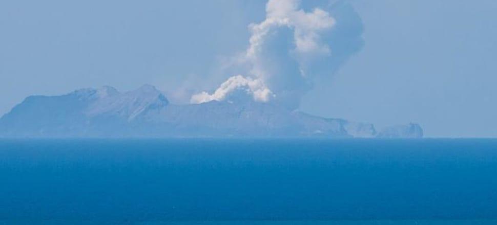 Whakaari / White Island after the eruption. Photo: Bay of Plenty Civil Defence