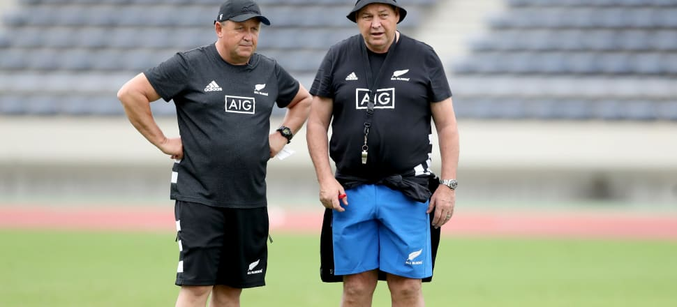 Ian Foster gets to grab the head coach's whistle from his mate Steve Hansen.  Photo: Getty Images