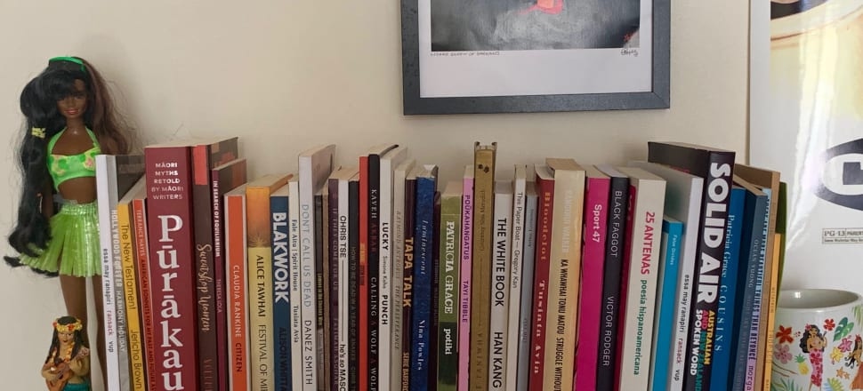 Alice Tawhai, Simone Kaho, Patricia Grace, a lot of poetry and some cute dolls: a bookshelf in the Wellington home of author Tayi Tibble, guest editor of the latest and radically good issue of literary journal Sport (Victoria University Press, $30).