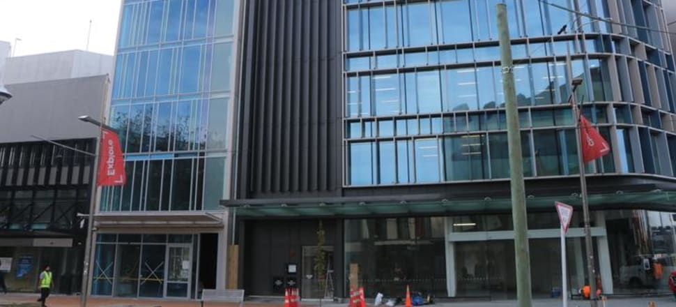230 High Street, Christchurch, is the narrow, glass-fronted building to the left. Photo: RNZ / Katie Todd
