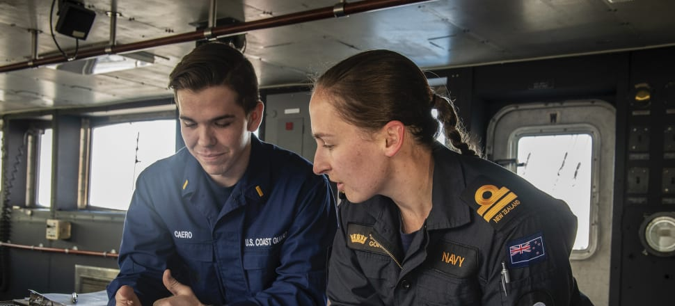 Lt Sophie Going on board the RNZN's ship Aotearoa, which will operate in the Antarctic.  Photo: Supplied