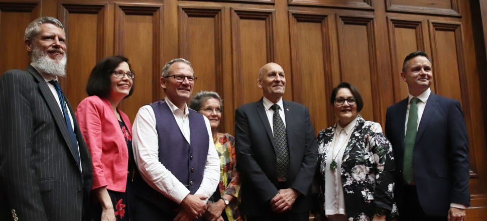 James Shaw (right) with newly-appointed Climate Change commissioners. Photo: Lynn Grieveson