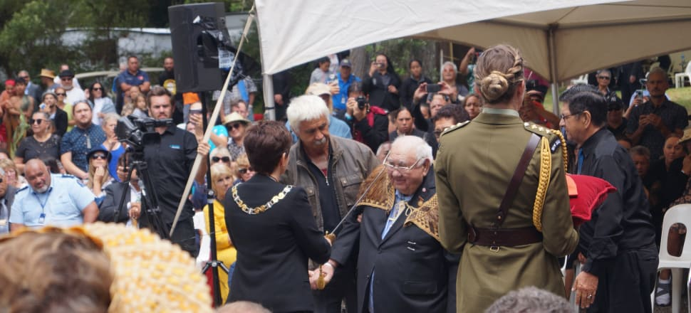 Sir Hekenukumai Busby is formally knighted by Governor-General Dame Patsy Reddy at Waitangi. Photo: Sam Sachdeva.