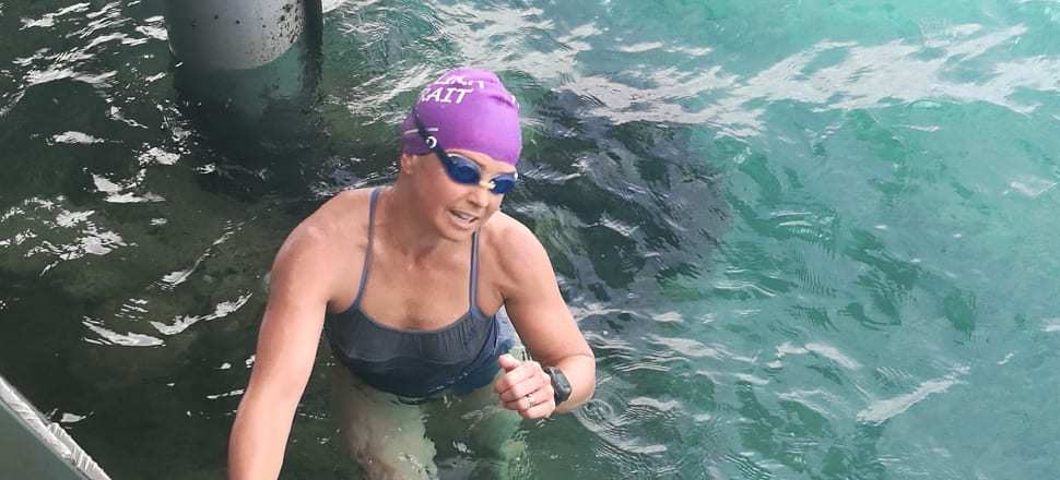 Psychiatrist Bronwyn Copeland, the first swimmer to finish the 22km race across Samoa's Apolima Strait, is acutely aware of the mental side of long distance swimming. Photo: Afoa/Samoa Events.