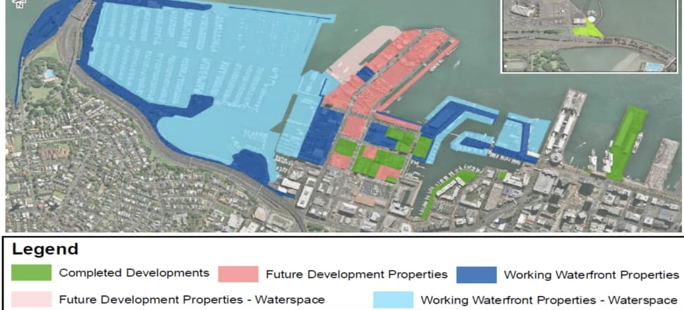 The waterfront land and water rights which could have a change of owner within months to avoid a big tax bill. Photo: Auckland Council