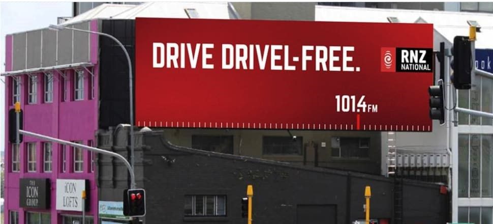 RNZ's message to Aucklanders stuck in traffic.  Photo: supplied