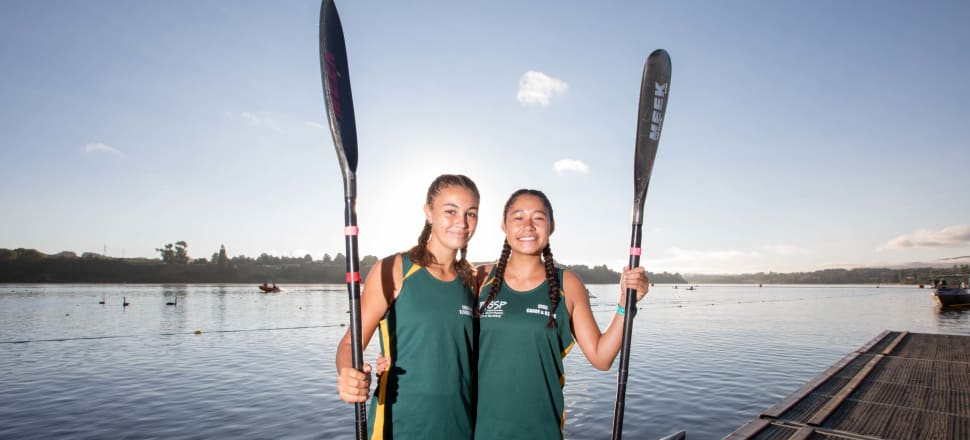 Cook Island kayakers Jade Tierney and Genesis Ngatikao were thrilled to share the same body of water as their idol, Lisa Carrington, at the national champs in Lake Karapiro on the weekend. Photo: Jamie Troughton, Dscribe Media.