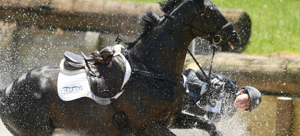 Although Sam Lissington took a dunking from Ricker Ridge Sooty at the water jump, her next three horses all made the podium at the Puhinui International Horse Trials - testament to her skill and tenacity. Photo: Getty Images