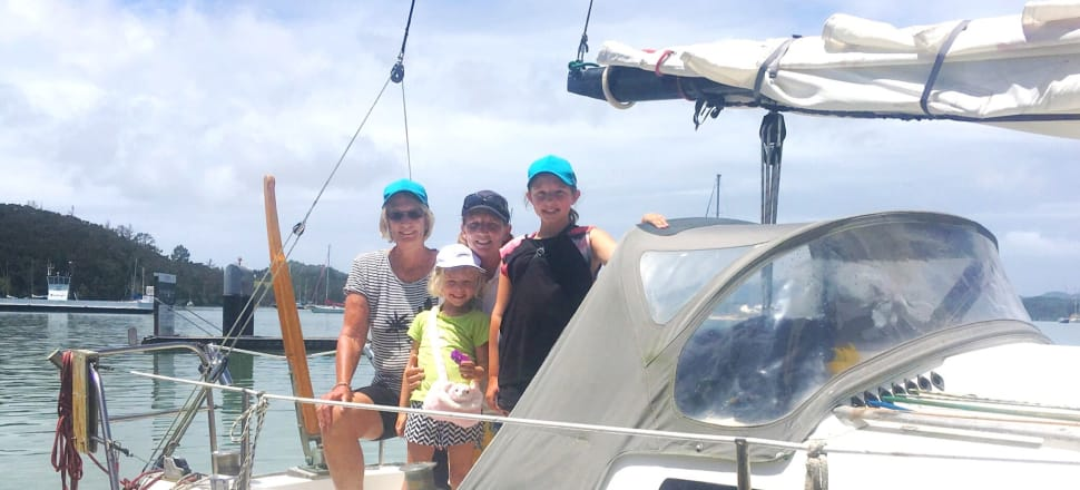 The multi-generational Ferris crew - (clockwise from left) grandmother Pauline, mother and Olympic sailor Sharon, and daughters Sofia and Victoria - on board Black Swan. Photo: Helen Horrocks.