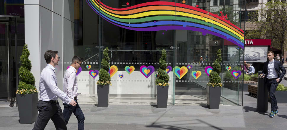 Aviva Insurance in London - on board with the rainbow community. Photo: Getty Images