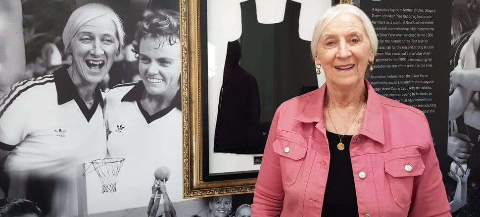 Dame Lois Muir, now 84 and as whip-smart as ever, in the meeting room at Netball NZ HQ named in her honour. Photo: Suzanne McFadden