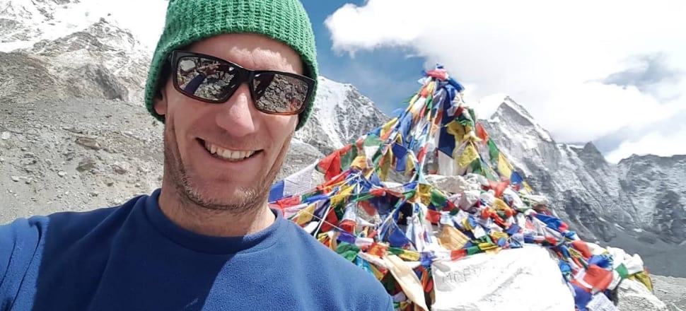 A Cactus Outdoor shirt - and its owner, customer Al Haines - makes it to Everest base camp. Photo from the Cactus Outdoor Facebook page, used with permission.