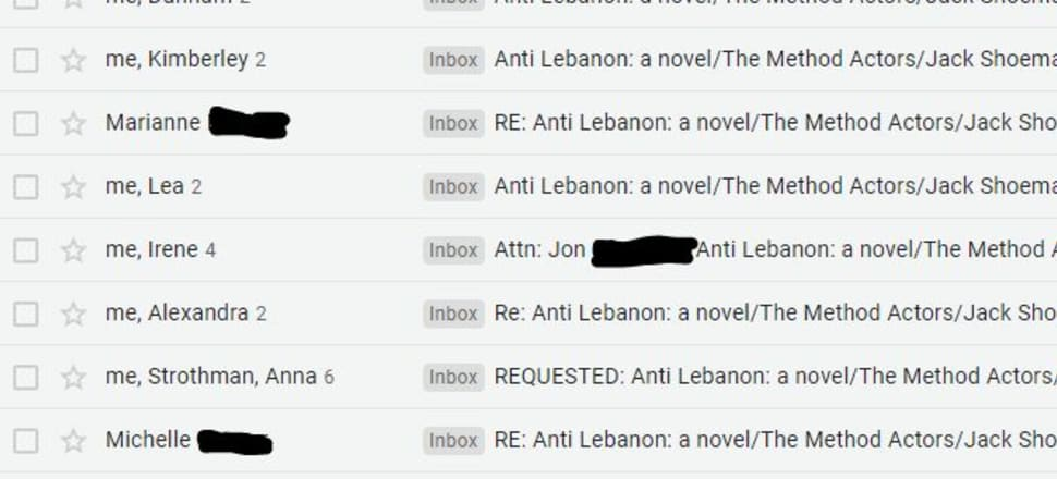 Documentary evidence from the author's Inbox of a small sample of the many, many, many rejection emails he received. Photo: Supplied.