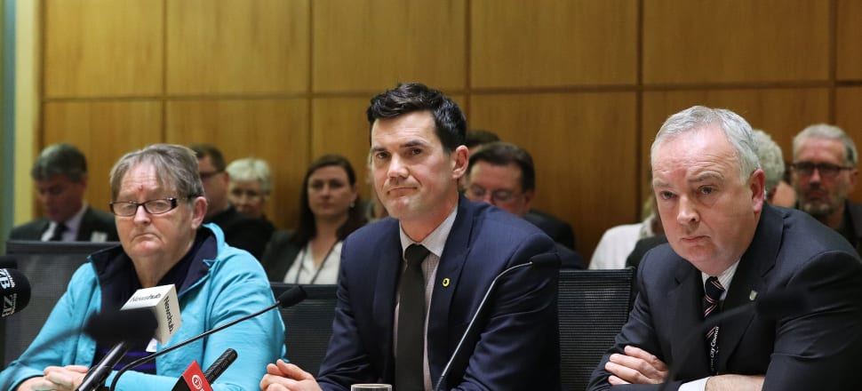 Hutt City Councillor Margaret Cousins, Wellington Mayor Justin Lester and Wellington City Council chief executive Kevin Lavery appear before select committee to discuss the capital's bus woes. Photo: Lynn Grieveson