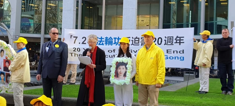 Falun Gong practitioner Guohua Huang (right) and his daughter have presented an open letter to Jacinda Ardern, asking for the Government to condemn China's treatment of religious groups. Photo: Supplied