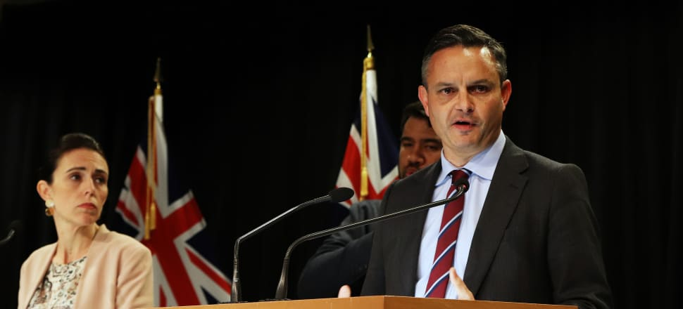 Statistics Minister James Shaw, watched by the Prime Minister, announces more money for Stats NZ in April. He knew then that a huge financial hole loomed. Photo: Lynn Grieveson