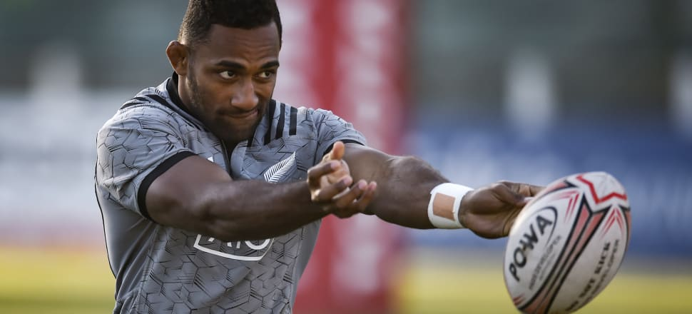 Sevu Reece keeps his eye of the ball at an All Blacks training session in  Buenos Aires ahead of his test debut against Argentina. Photo: Getty Images.