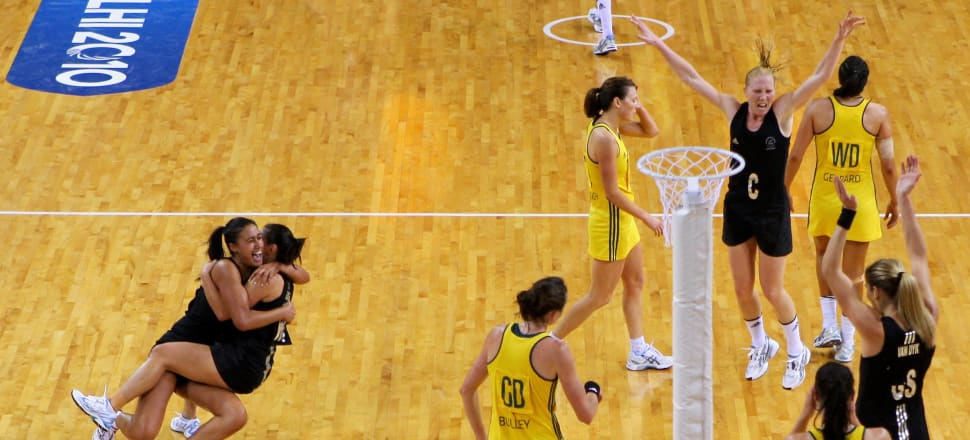 The moment the Silver Ferns won the 2010 Commonwealth Games final against Australia in an 84-minute, double extra time doozy. Photo: Getty Images.