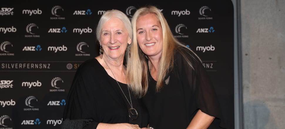 Silver Ferns manager Esther Molloy (right) receiving the best wishes of one of the great coaches of New Zealand netball, Dame Lois Muir, before she left for the World Cup in Liverpool. Photo: Michael Bradley Photography.