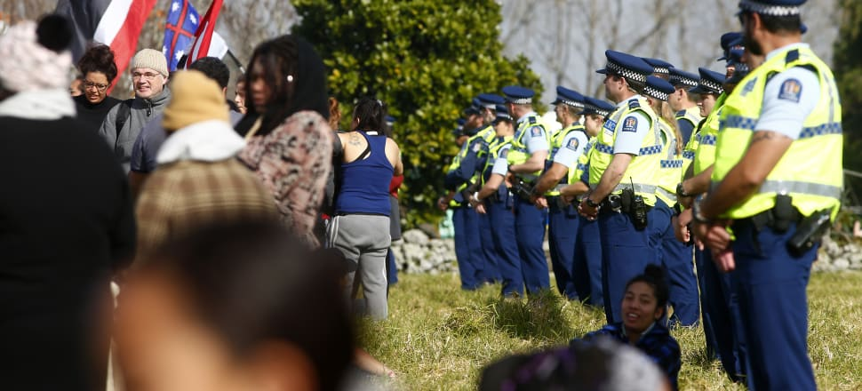 Police block land access to protesters at Ihumātao on July 25. Photo: Getty Images