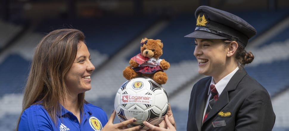 Scotland will fly local airline Logan Air to the World Cup and take a teddy bear wearing a tartan kilt with them. And captain Rachel Corsie, who is pictured left. Photo: Getty Images
