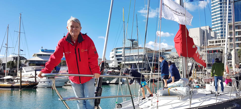 Sailing trailblazer Tracy Edwards and her famous round-the-world yacht Maiden have returned to Auckland for the first time in 30 years, to help girls around the world get an education. Photo: Suzanne McFadden.