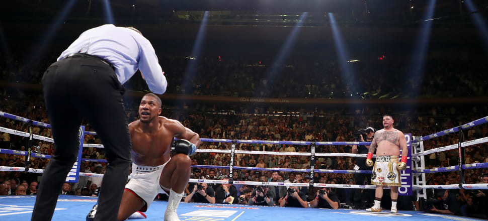 Anthony Joshua was felled four times by Andy Ruiz before deciding to quit in the seventh round. Photo: Getty Images