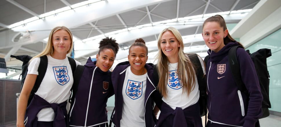 England stars (from left) Leah Williamson, Demi Stokes, Nikita Parris, Toni Duggan and Abbie McManus prepare to depart Heathrow Airport for France. Photo: Getty Images