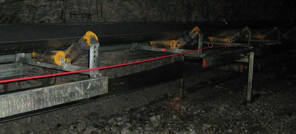 The Pike River mine conveyor belt being built in 2007. Photo: NZ Police