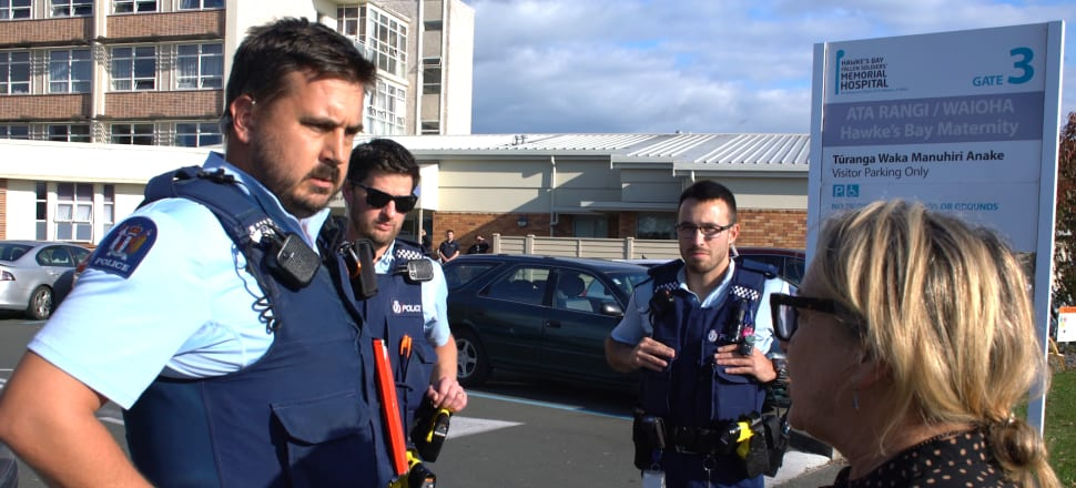 Reporter Melanie Reid at the entrance to Hawkes Bay Hospital while the attempted uplifts of the newborn bay were being attempted.  Photo: Supplied.
