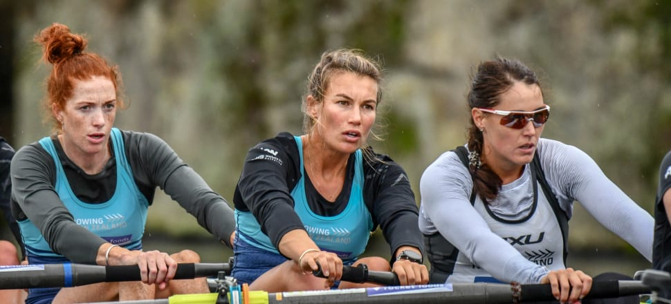 Lucy Spoors (centre), training with the New Zealand women's eight on Lake Karapiro, is focused on winning an historic gold at next year's Tokyo Olympics. Photo: Art of Rowing.