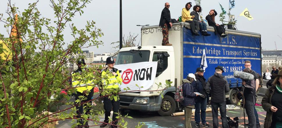 In London, Extinction Rebellion protestors blocked Waterloo Bridge. Photo: Eilish Grieveson