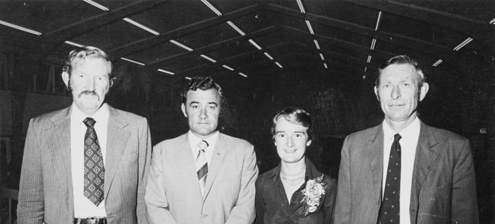 Marilyn Waring and the other contestants for National's candidacy for the Waipa seat in 1978. Photo: Alexander Turnbull Library.