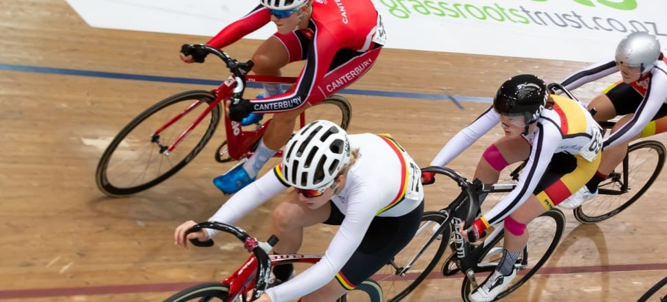 Prudence Fowler (in the white helmet) has been scooping up national titles since 2015, bagging a stunning 21 national age-group cycling titles, on both the road and track. Photo: Grant Harris Photography.