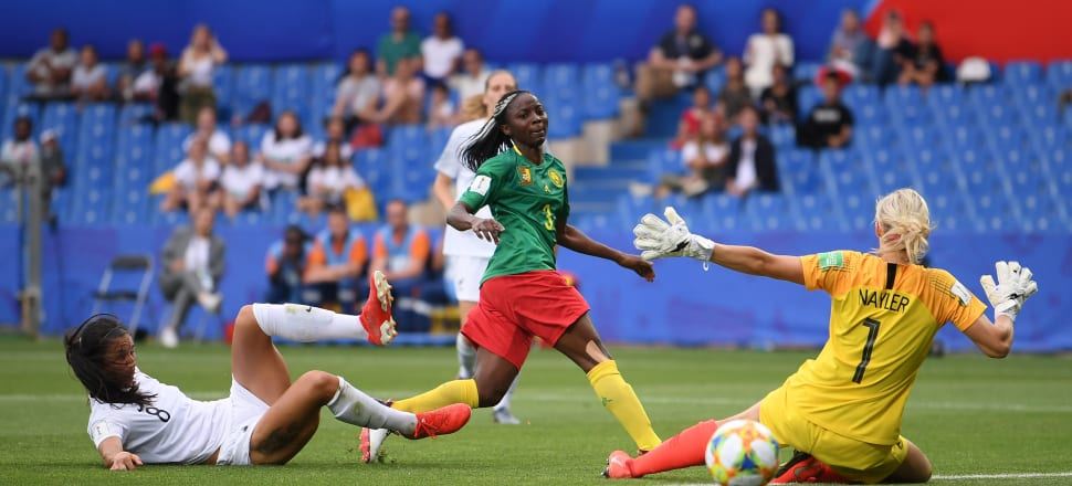 Ajara Nchout scores the first of her two decisive goals against the Football Ferns in Montpellier. Photo: Getty Images.