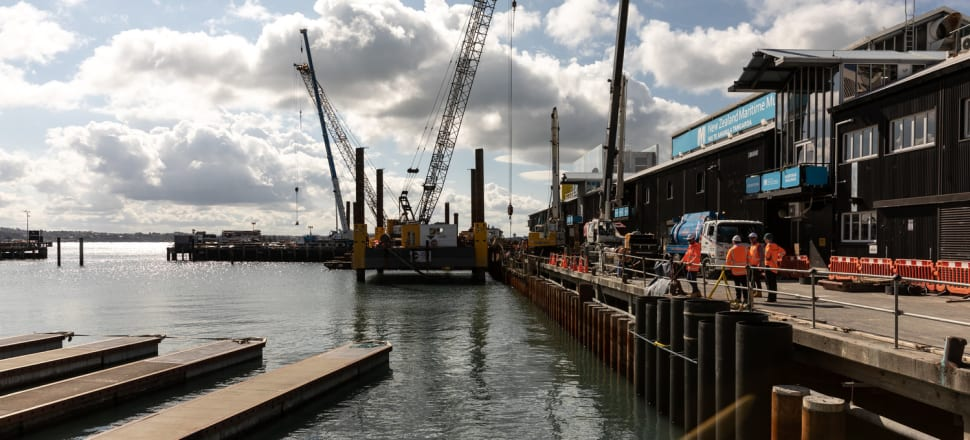 Pile driving on Hobson Wharf is the dominant noise on Auckland's waterfront at the moment. Photo: Wynyard Wharf Alliance