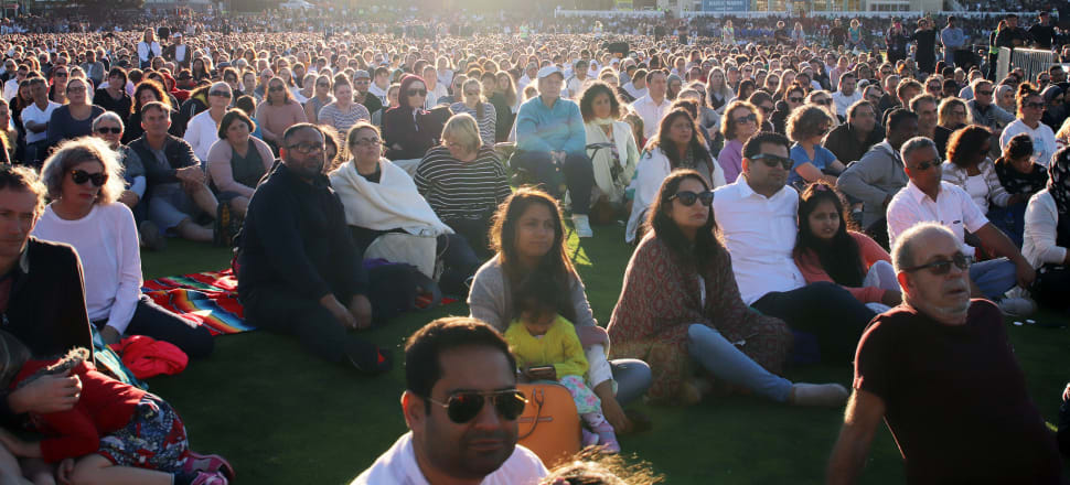 """Basin Reserve vigil: """"What I know is what matters most to New Zealanders is a broadminded, tolerant society that is inclusive of, and attends to the needs of all of us,"""" says Jess Berentson-Shaw. Photo: Lynn Grieveson"""