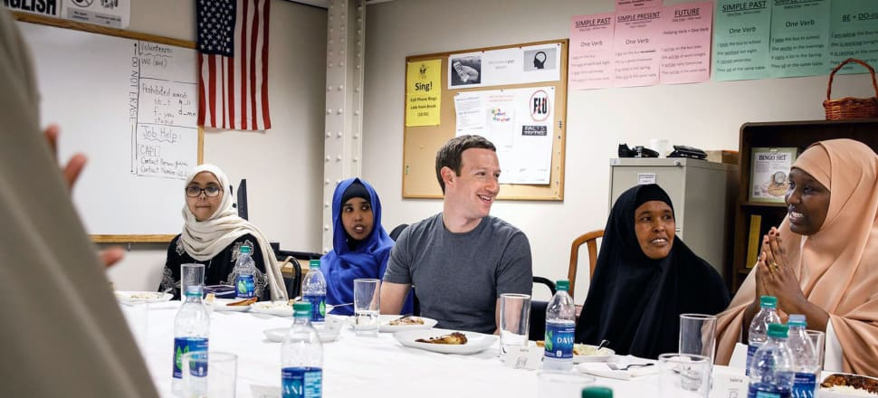 Facebook's Mark Zuckerberg shares a meal with Somali refugees in Minneapolis. Photo: Facebook