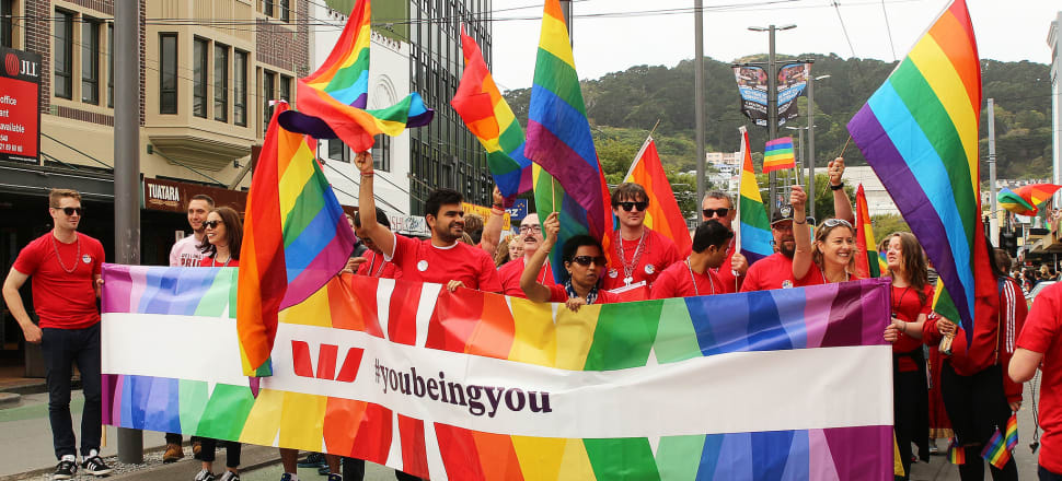 Wellington's LGBT community and its supporters fly their flag in the local pride parade. Photo: Lynn Grieveson